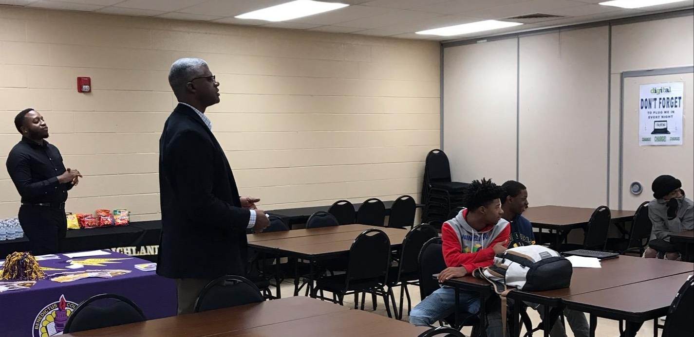 Speaking to students at Lower Richland