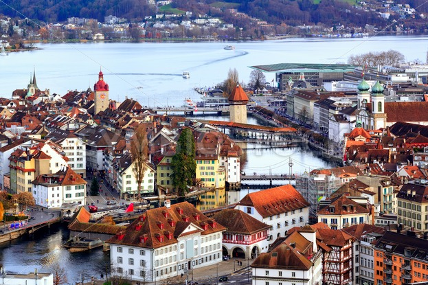 Old Town of Lucerne with Chapel Bridge & Water tower, Zurich