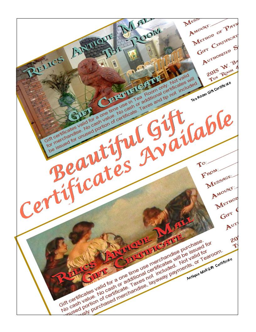 Gift Giving Simplified!   Beautiful Gift Certificates for the Mall and for the Tea Room