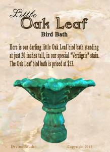 little oak leaf bird bath set3