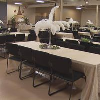 Relics Event Center Wedding Setting, white feathers