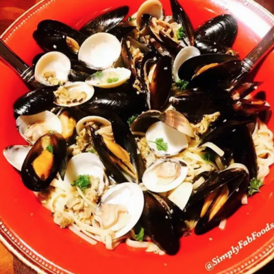 Mussels & Clams over Linguini