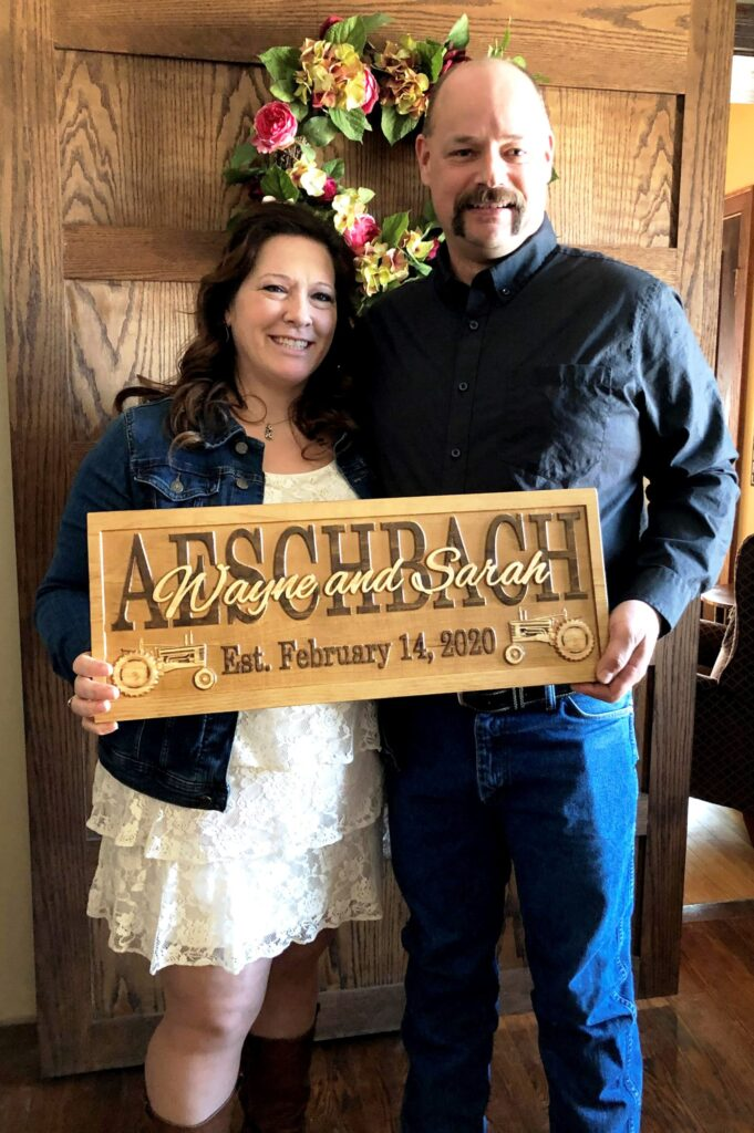 Wayne and Sarah were married on Valentine's Day.