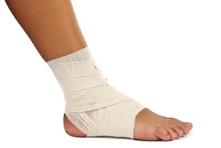 Ankle sprain bandaged