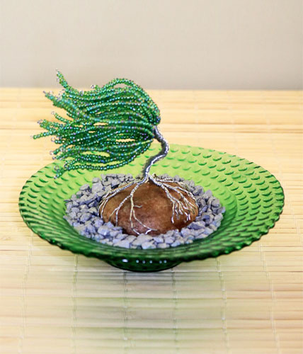 Green Zen Garden With a Wire Sculpted Tree