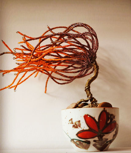 Orange and Brown Wire Sculpture Tree