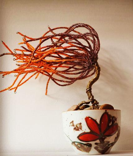 Orange and Brown Wire Sculpture Tree