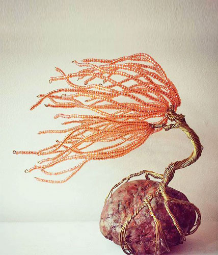 Coral Pearlized Wire Sculpture Tree