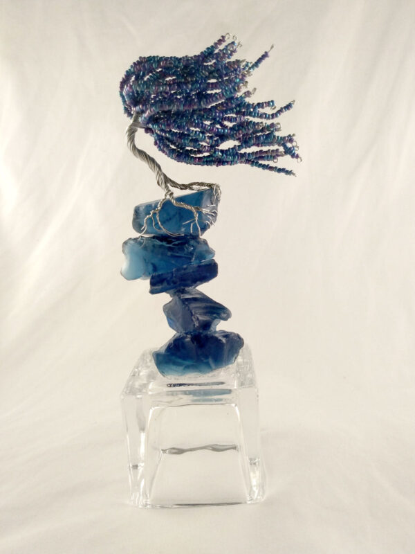 Depth Blue Wire Sculpted Tree