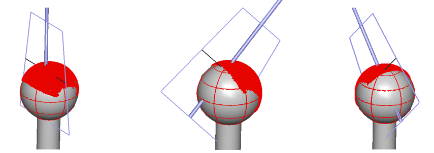 Examples of tooling ball measurement at different head orientations using a blue light laser sensor