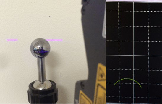 Scan data on a shiny calibration ball