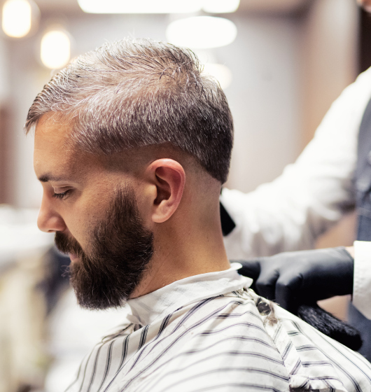 Brush back with fade hairstyles for men