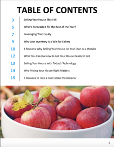 Table of contents for Seller's Guide