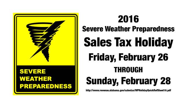 2016 Alabama Severe Weather Preparedness Sales Tax Holiday