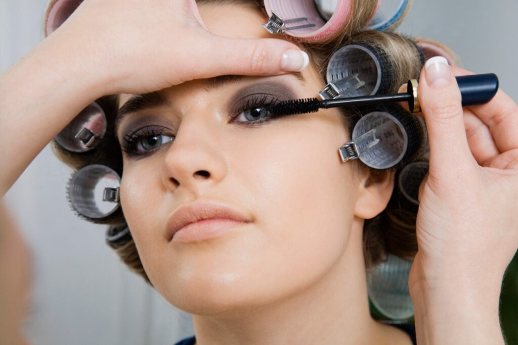 fine tuning your look, lady in curlers