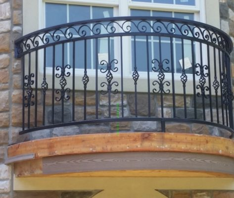 B1 Balcony Faux Radius Custom Design Iron Balcony Railing