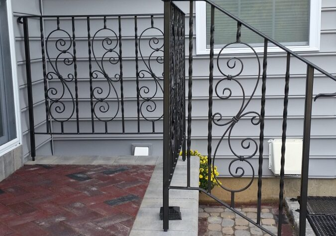 E36 Exterior Iron Railing Twisted Every One With Scroll Inserts