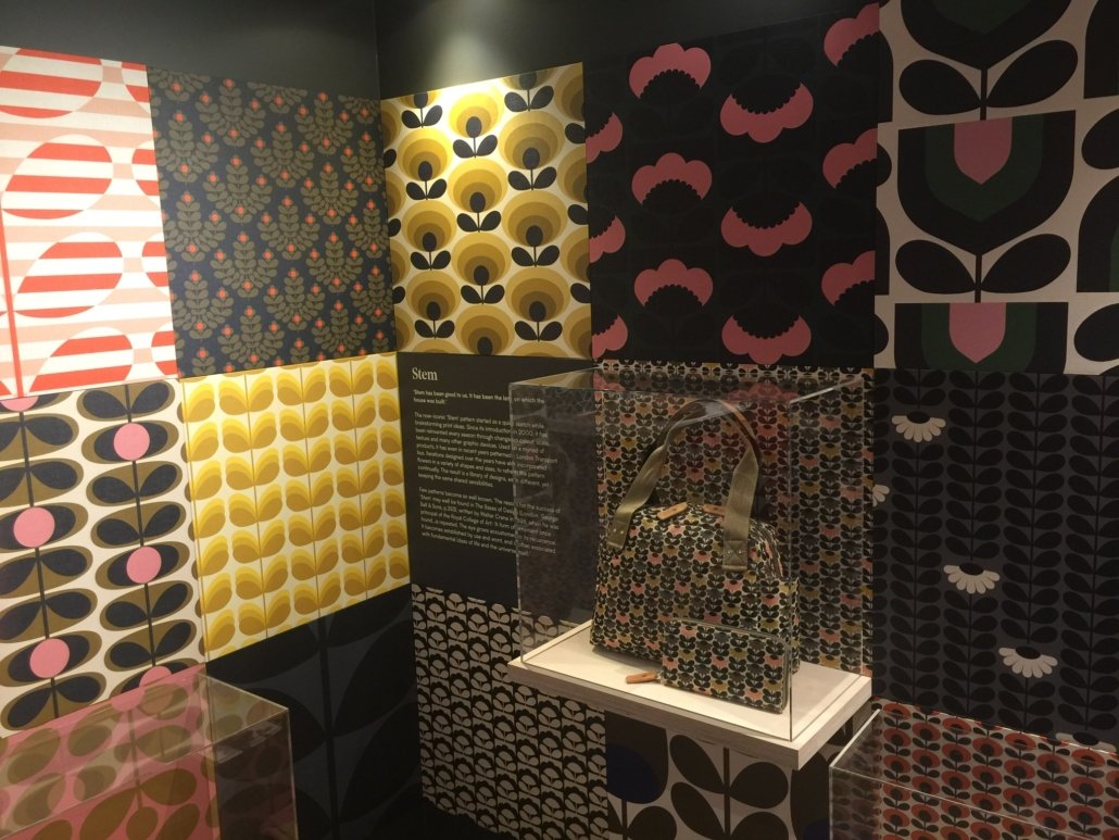 Display of different iterations of Orla Kiely's Stem pattern.