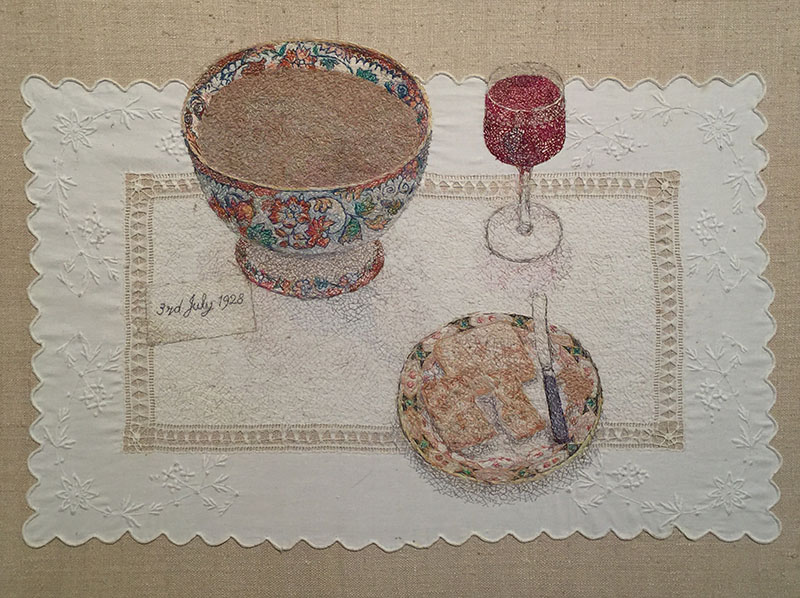 """A Cumbrian Birthday"" 1997/8 embroidery by Audrey Walker uses a tray cloth from Audrey's childhood."