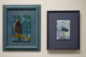 """Crested Serpent Eagle"" and ""Cheeky Blue Heron"" by Christina Fairley Erickson"