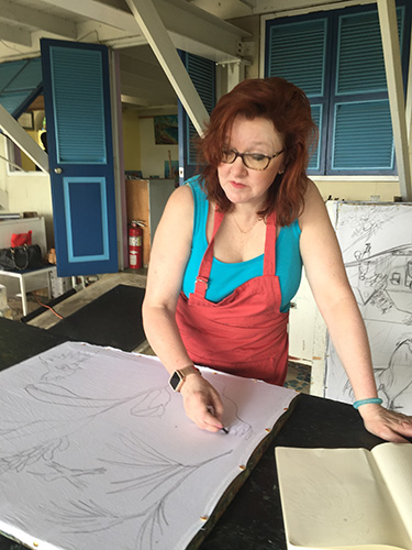 Christina Erickson drawing on practice Batik piece