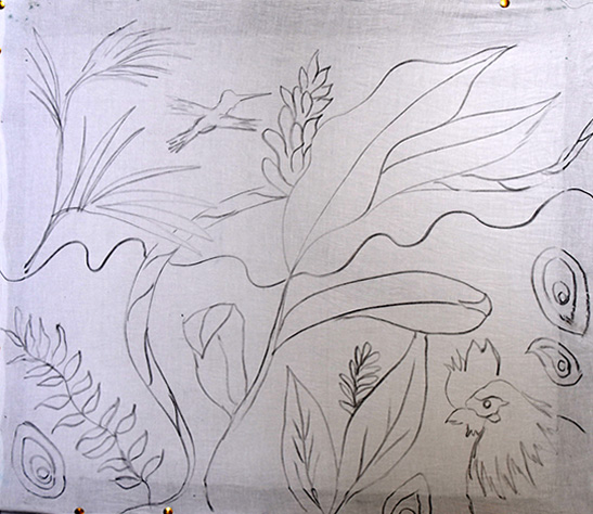 Lines, leaves & birds to practice on - Christina Erickson Batik