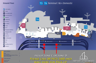 Terminal 3 and 4 Pick up point. Perth Apartment Hotel.