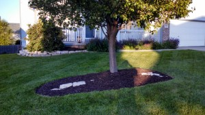 Mulch application in Omaha by Nebraska Yard Care
