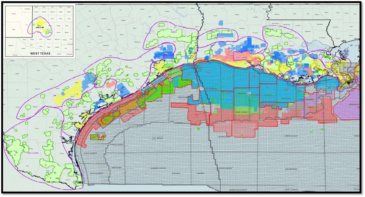 Map of oil fields on Gulf Coast.