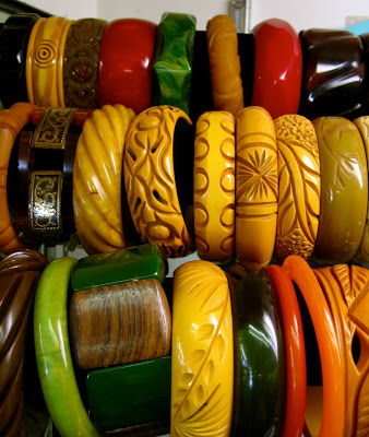 carved bakelite bangles