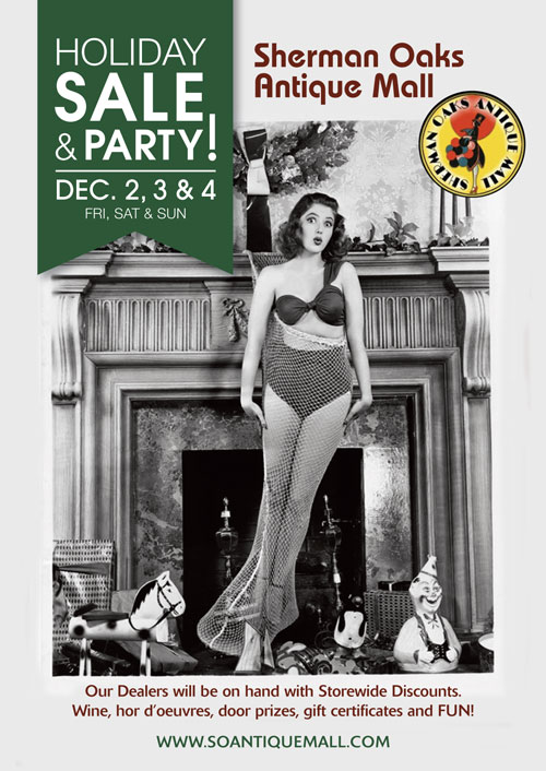 Holiday Party & Sale meet the Dealers Dec 2, 3 & 4 . SALE 10%-50% off storewide