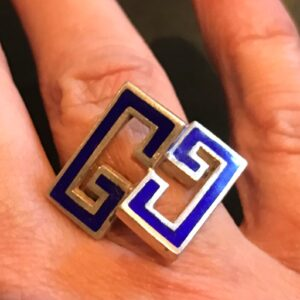 Signed Gucci Italy 925 sterling enamel logo gg ring