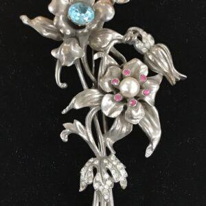 Vintage REJA flower brooch silver
