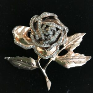 Hattie Carnegie Rose Brooch with a rose gold wash.