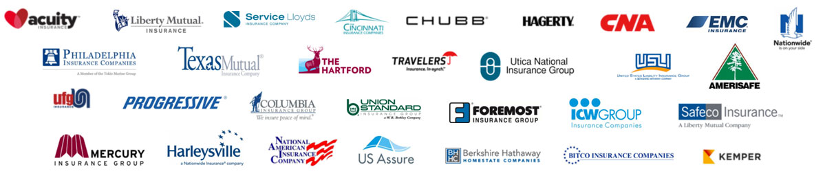 Our Partner logos - Acuity, Liberty Mutual, Chubb, Nationwide, The Hartford, Progressive, Safeco Insurance, etc.