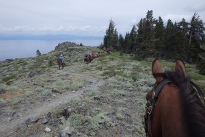 "Petra Keller on her beloved ""Red"" leading the group on the Tahoe Rim Trail."
