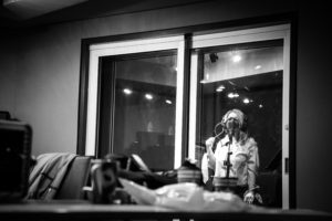 Annie Bonsignore in recording booth