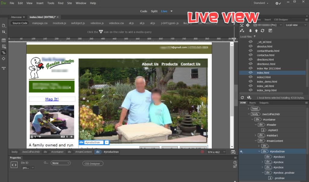 Adobe Dreamweaver LIVE view GetMeCoding