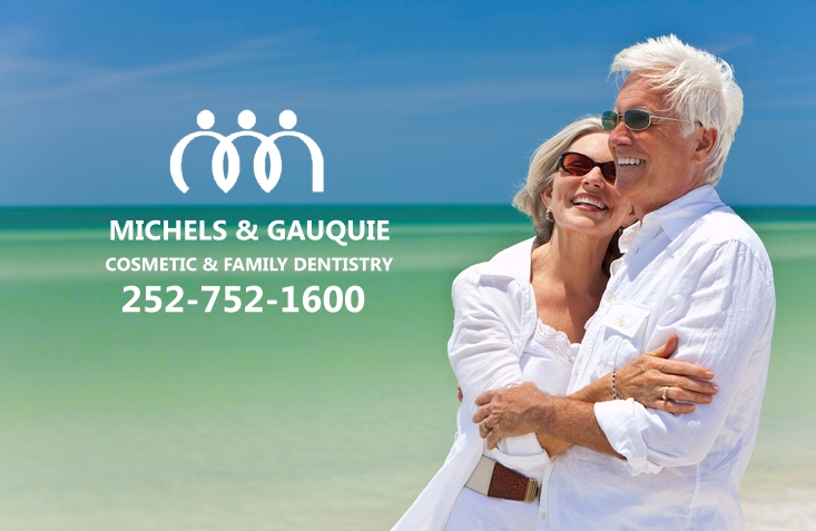 older couple with dentures on beach