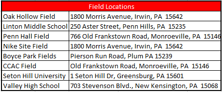 2019 Tryout Field Locations
