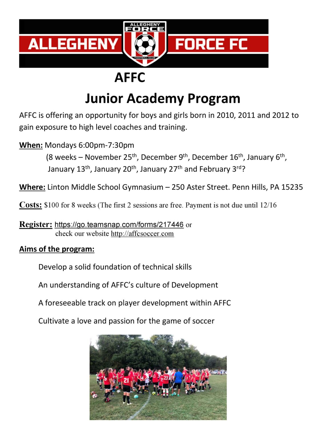 AFFC Junior Academy Flyer Winter