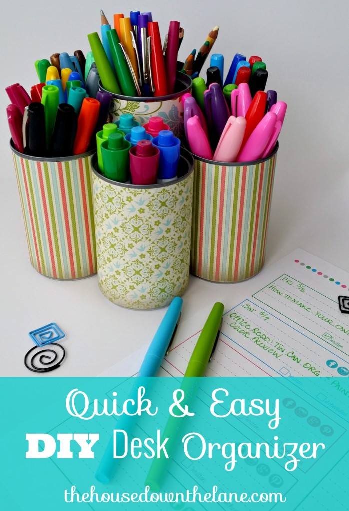 I have a problem with pens. I have too many of them, and I keep getting more. But I think I found my solution with this QUICK & Easy DIY Desk Organizer! And you don't have to use it just for pens! From thehousedownthelane.com.