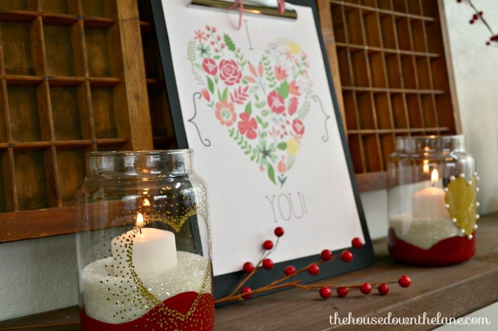 For this month's Create & Share Challenge, 19 of my blogging pals and I teamed up with GraphicStock to bring you a truly epic challenge!| DIY Heart Candle Holders and Printable: Create & Share | The House Down the Lane