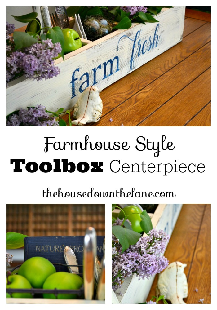 I picked up this toolbox at a flea market months ago and couldn't wait to use it in my home decor. But when I got it home, I was stumped... Until a few weeks ago, when I decided I had to give it a makeover with a farmhouse feel and use it as a toolbox centerpiece! Toolbox centerpieces are so popular right now, and I really wanted to add one to my home decor collection. Here's how I created it and had some fun with the fonts I used! | The House Down the Lane