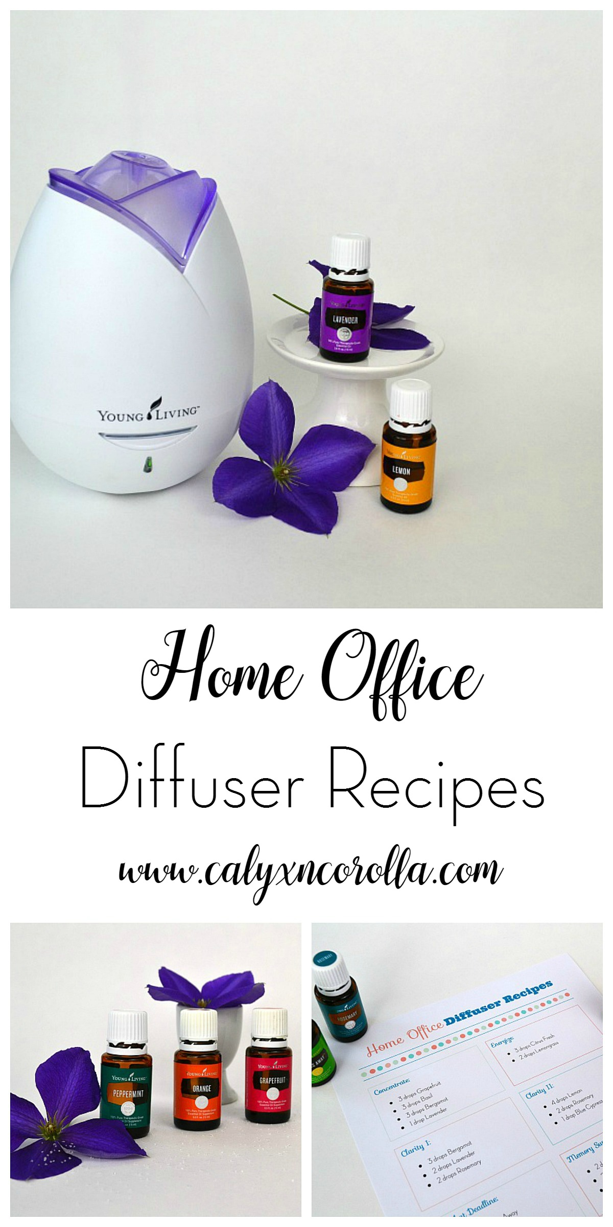 I use the diffuser that I received in my Young Living Premium Starter Kit all the time! But it wasn't until I started creating home office diffuser recipes that I decided I couldn't work (or live) without my oils and my diffuser! And today I'm sharing 8 of my favorite home office diffuser recipes with you! | Calyx and Corolla