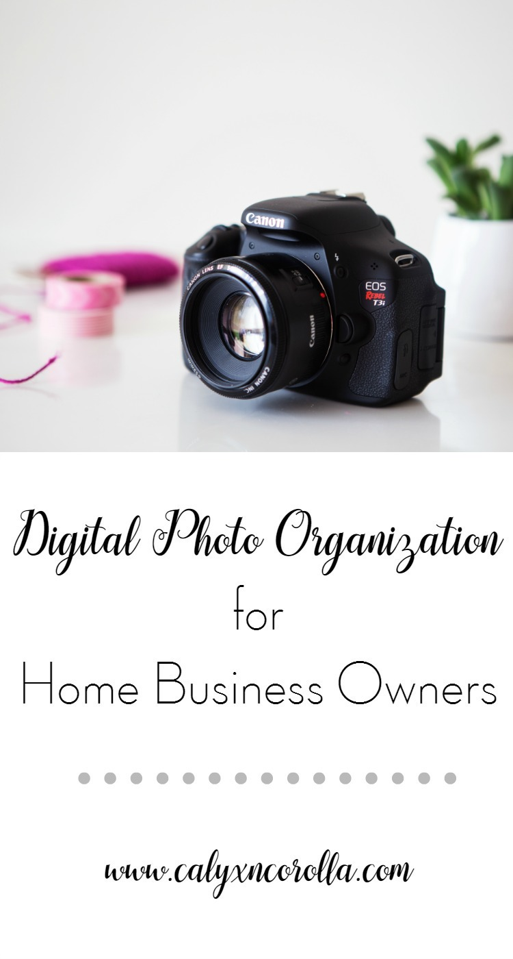 There are many different ways to approach digital photo organization, but when you work at home, digital photo organization has a few specific challenges. Let's talk about those challenges and conquer our digital photo organization once and for all! | Calyx and Corolla