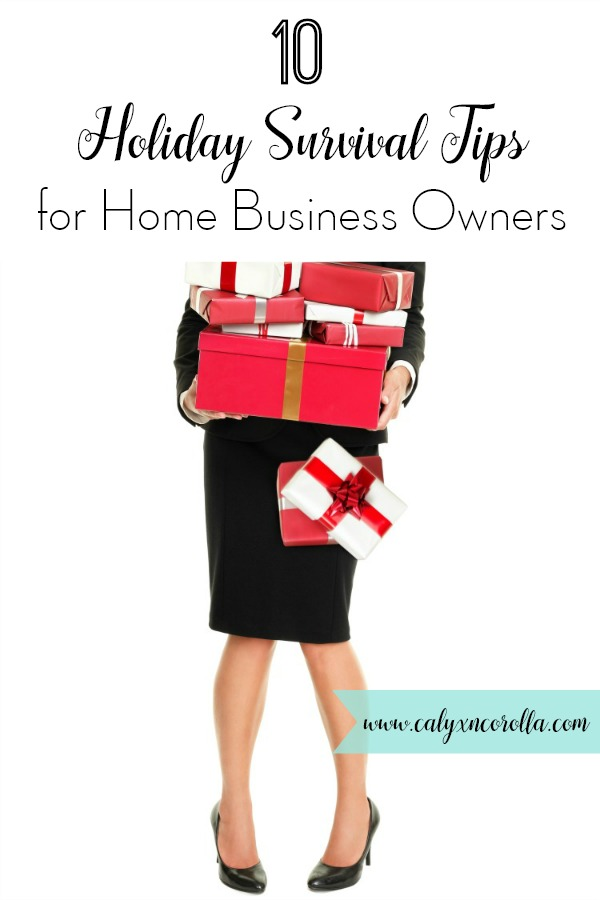 Don't miss these 10 holiday survival tips for home business owners! The holidays bring a unique set of challenges to home business owners. Between running your business AND all of the holiday prep you have to finish, it's enough to fill even the most stalwart business owner with holiday dread. But these ideas will help you to decrease your holiday stress and get back to actually enjoying the Christmas season! Let these 10 Holiday Survival Tips for Home Business Owners be your guide! #holidayseason #organization #timemanagement #planning #productivity