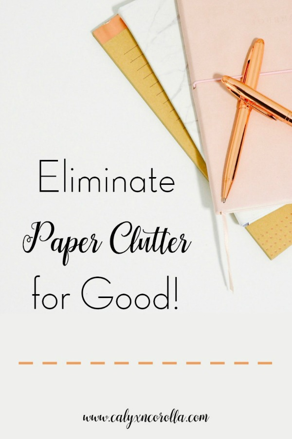 Paper clutter is one of the biggest organization struggles. And when you're working at home and your office is doing double or triple duty, paper can quickly take over your office and ruin your productivity. But you can get rid of paper clutter with a few simple solutions and systems. Don't miss these tips to eliminate paper clutter for good and take your home office and your productivity back! #paperclutter #declutter #officeorganization #organization #organize #organizingtips