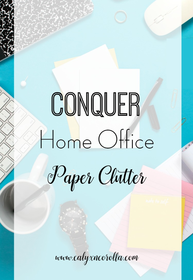 Disorganized paper not only clutters up our home offices, it adds frustration and stress to our already busy lives. But with some time and effort, you can whip that paper clutter into shape. Let's talk about how to conquer home office paper clutter! | Calyx and Corolla