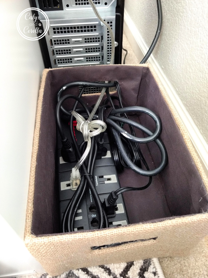An Easy and Inexpensive Solution for Office Cord Clutter | Calyx and Corolla